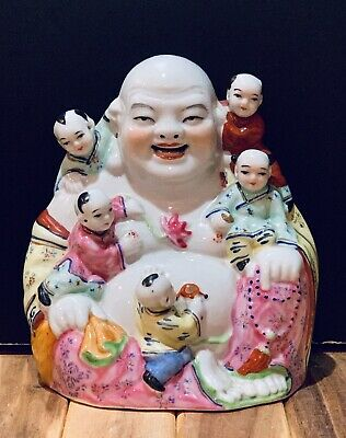 Laughing Buddha Vtg Porcelain Hand Painted Chinese Figure with 5 Children Marked