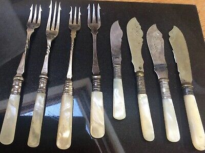 Antique Victorian Silver Plate And Mother Of Pearl Serving Pieces Eight In All