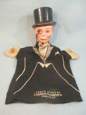 Vintage 1939 Composition Head Charlie McCarthy Puppet Imprinted Cloth Mitten