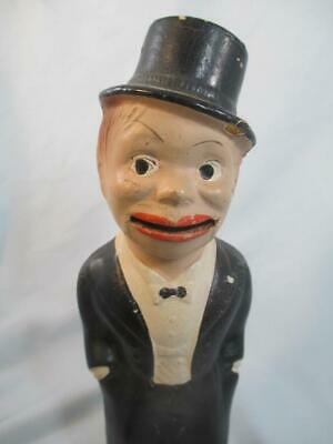 """Vintage Composition Charlie McCarthy Look-Alike Toy Coin Bank with Key 9"""""""