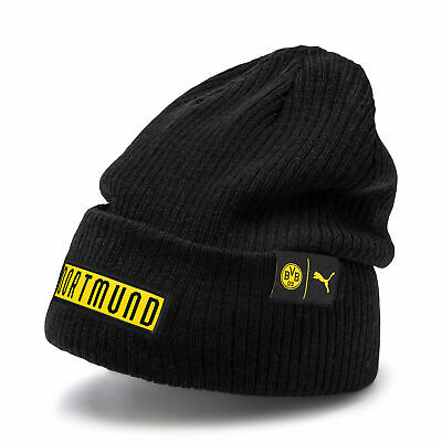 Puma Official Mens BVB Borussia Dortmund Bronx Football Fans Beanie Hat Black