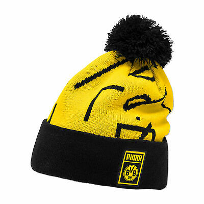 Puma Official Mens BVB Borussia Dortmund DNA Football Pompom Beanie Hat Yellow