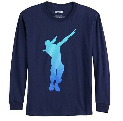 Boys Fortnite Dab Dance Long Sleeve Navy Top Tee T-Shirt S 8 or M 10/12 NWT