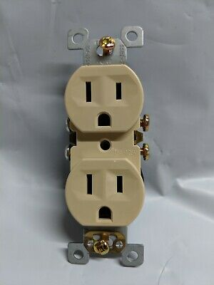 (20 pc) *NEW* Standard Duplex Receptacles 15 Amp IVORY 15A Self Grounding