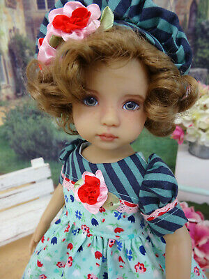 """Tutti Floral - dress, hat, tights & shoes for 13"""" Effner Little Darlings Doll"""