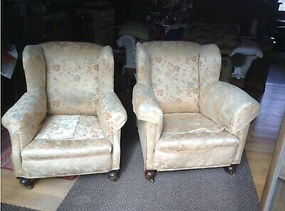 Victorian armchairs.  Pair - his and hers, i.e. one wider than other.