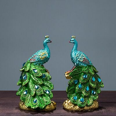 Peacock Resin Figurine Statue Sculpture Home Decoration Ornaments Wedding Gift