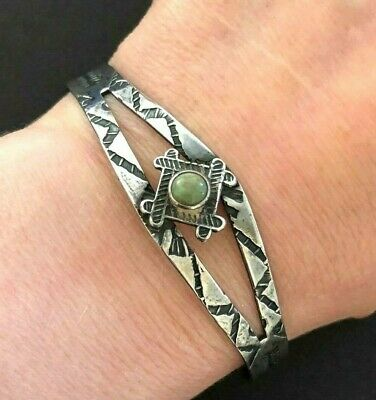 Fred Harvey Era Navajo 925 Sterling Silver Arrow Stamped Turquoise Cuff Bracelet