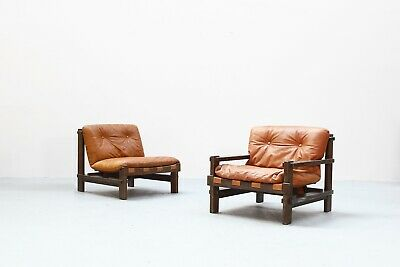 Pair of  beautiful leather Lounge Chairs by Carl Straub, 1960s  danish Design
