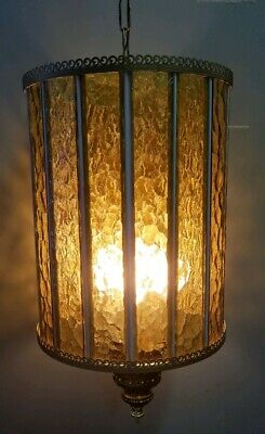 "Vintage Golden Amber 15"" Glass & Brass MCM Swag Ceiling Lamp Candelabra Lighting"