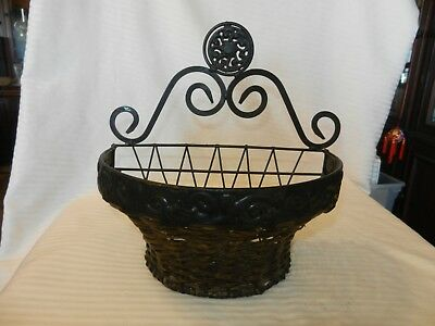 Black Metal With Wicker Hanging Mail Letter Holder Scroll Design Half Moon Shape