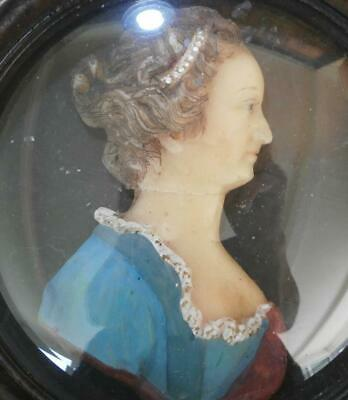 GOOD GEORGIAN COLOURED CARVED WAX PORTRAIT MINIATURE of QUEEN CHARLOTTE