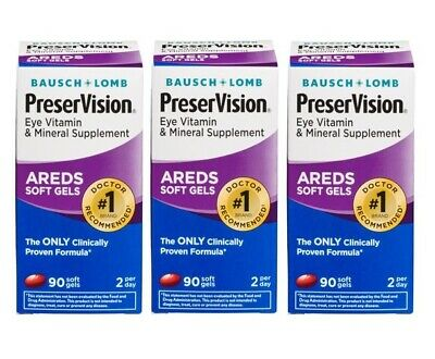 Bausch Lomb PreserVision AREDS 3 Pack 270 Softgels Exp 12/16 03/17 09/17 B224