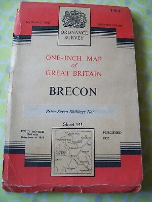 1955 Ordnance Survey Seventh Series One Inch Brecon Map Sheet 141
