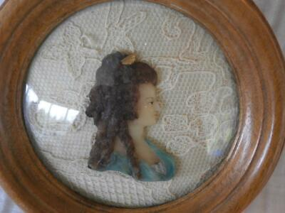 GOOD GEORGIAN COLOURED CARVED WAX PORTRAIT MINIATURE of a YOUNG 18thC LADY