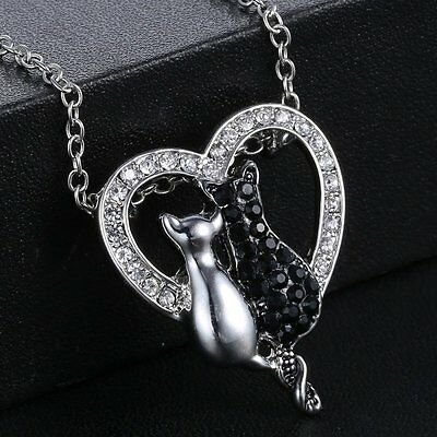 Fashion Cute Cat Rhinestone Crystal Heart Pendant Necklace Sweater Chain Jewelry