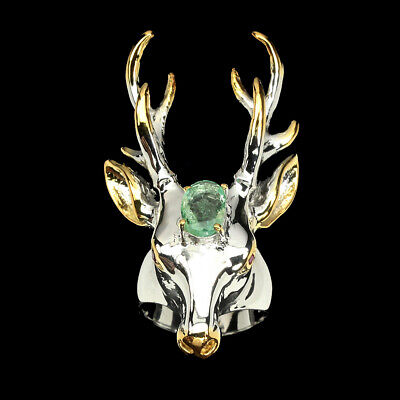 Unheated Oval Green Emerald 9x7mm Ruby 2-tone 925 Sterling Silver Deer Ring 7.5
