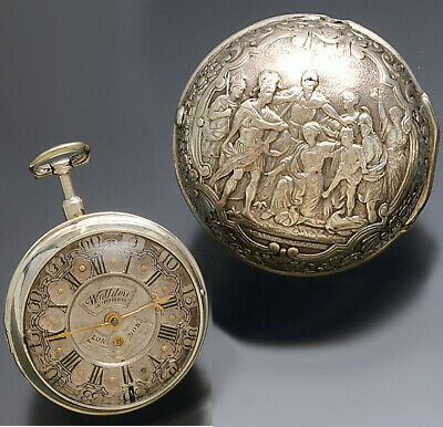 Rare Antique Wolldon Vere Fusee Silver Repoussee Pair Case Pocket Watch Ca1690