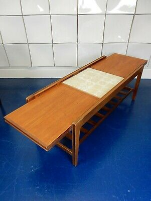 Remploy tiled top extending teak coffee table retro vintage mid century gplan