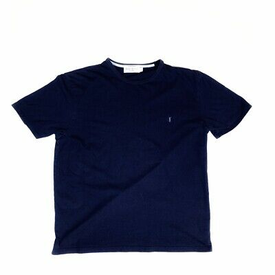 Vintage Yves Saint Laurent Blue T Shirt Short Sleeved Mens Large 2000s Y2K