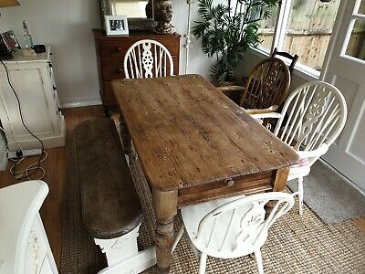 Vintage Pine Dining Table Chairs & Oak Bench *Free Local Delivery*
