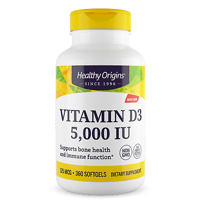 Healthy Origins Vitamin D3, 5000iu X 360 Softgel D-3 5,000IU