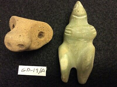 (GD-19/A) Pre-Columbian Southern Arawak Grenadaite Statue and Terracota Head