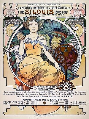 1904 St. Louis International Expo Mucha - Vintage Style Travel Poster - 20x28