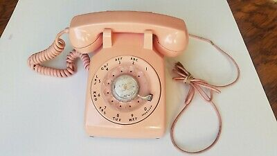 1960's Pink  Western Electric Bell  System Rotary Desk Telephone