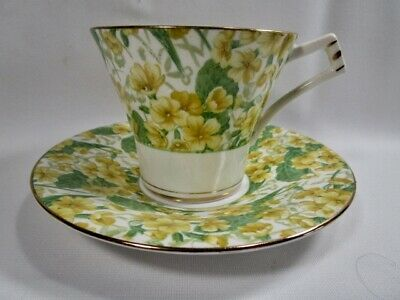 ROYAL ALBERT  -  Yellow Primula Chintz  -  Cup And Saucer   -   England
