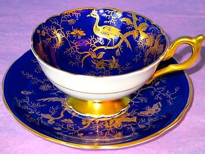 Coalport Fancy GOLDEN CAIRO BIRD Cobalt Blue Cup & Saucer England