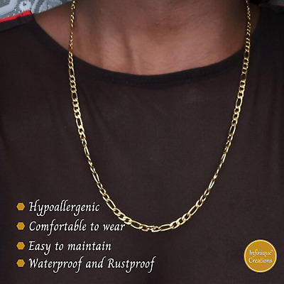 18K Gold Plated Stainless Steel Figaro Chain Necklace Bracelet Men Women 3-12mm