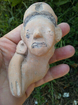 Veracruz MX Pre Columbian Pottery Figure with Bitumen Decoration AUTHENTIC
