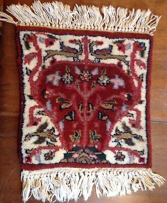 """Vintage Persian Mini Rug 12 1/2"""" Square Rug Wool Well Done High Knot Count"""