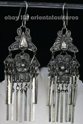 Tribal exotic chinese handmade filligree miao silver earring