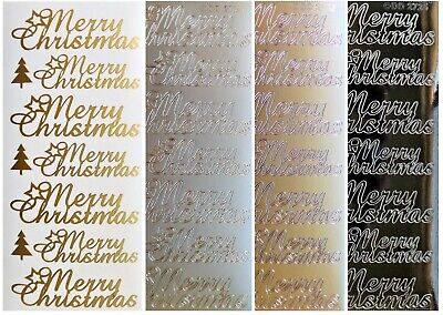 CURSIVE SCRIPT MERRY CHRISTMAS Peel Off Stickers Tree Gold, Silver or Black