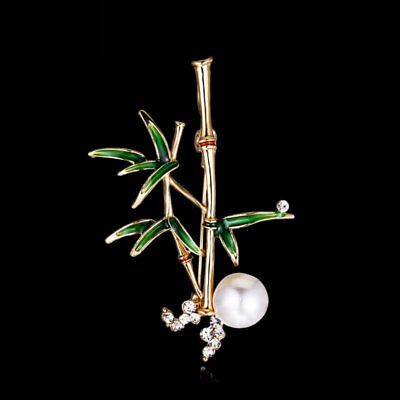 Vintage Women Plant Bamboo Pearl Crystal Enamel Brooch Pin Custome Jewelry Gift
