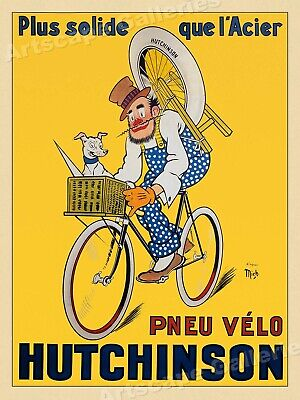 "1920s French Bicycle Cycling Poster - ""Pneu Velo Hutchinson"" - 20x28"