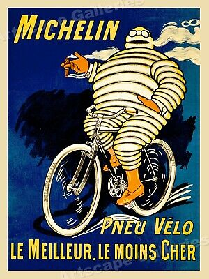 "1912 ""Pneu Velo Michelin"" Tires Vintage Style Bicycle Riding Poster - 20x28"