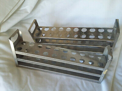 """Stainless Steel Lab Test Tube Holder Storage Rack Stand 1/2"""" x 20 Holes Lot of 2"""