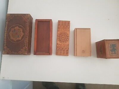 5 retro boxes, timber patterned BUYER MUST COLLECT SURRY HILLS NSW