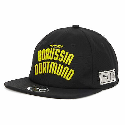 Puma Official Mens BVB Borussia Dortmund Urban Varsity Downtown Cap Hat Black