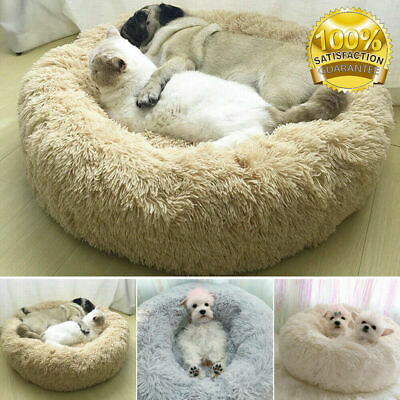 Pet Dog Cat Calming Bed Warm Soft Plush Round Cute Nest Sleeping Comfortable UK