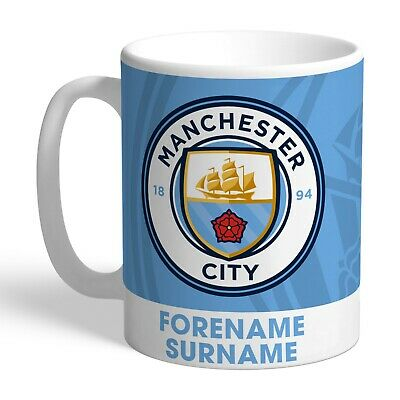 Personalised MANCHESTER CITY Bold Crest Mug Gift Football Club FC Man Fan