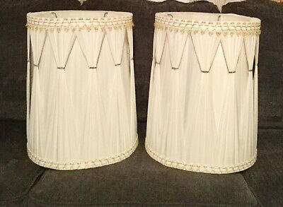 "Vintage Mid Century White Pleated Barrel Drum Lamp Shades 19"" High"