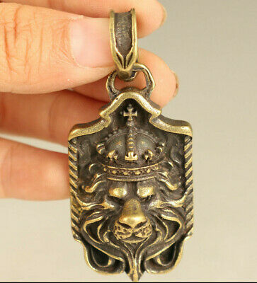 Asian rare old bronze Handcarved lion head statue pendant necklace decoration