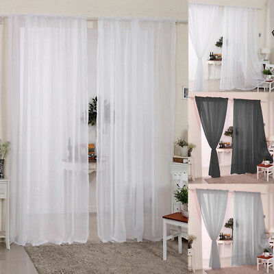 2 Panels Plain Voile Curtain Panel Rod Pocket Slot Top Net Curtains Home Decors