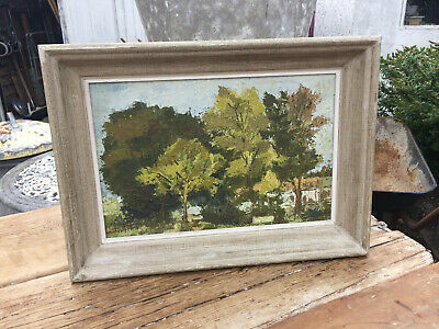 VINTAGE CANVAS PAINTING TREES FOREST LANDSCAPE signed OLD ANTIQUE FRENCH COUNTRY