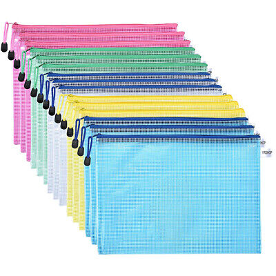 15Pcs Plastic Zip A4 Document Wallet Folder Pencil Case File Storage Pouch Bags