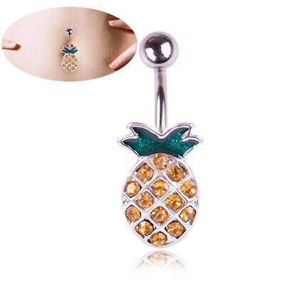 Pineapple Steel Navel Rings Crystal Belly Button Ring Bar Body'Piercing Jewe~GN